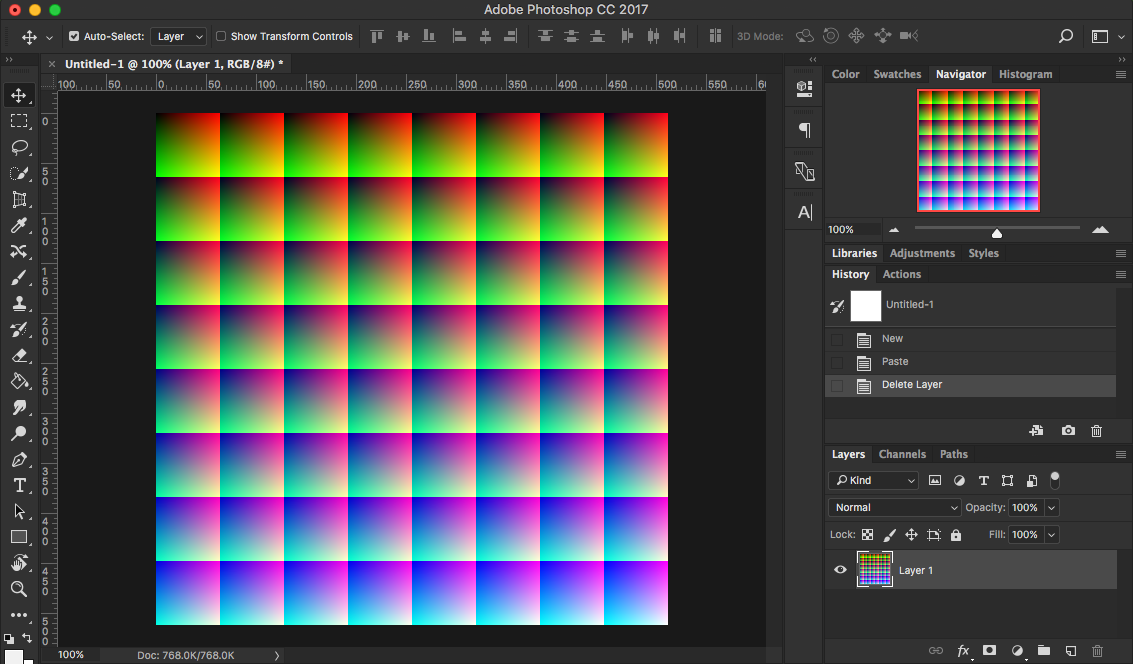Open a neutral LUT PNG image in photoshop