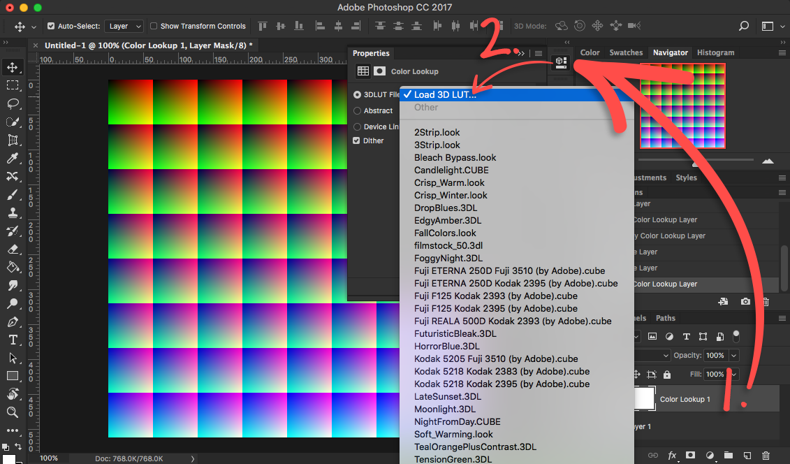Load the CUBE/3DL LUT file