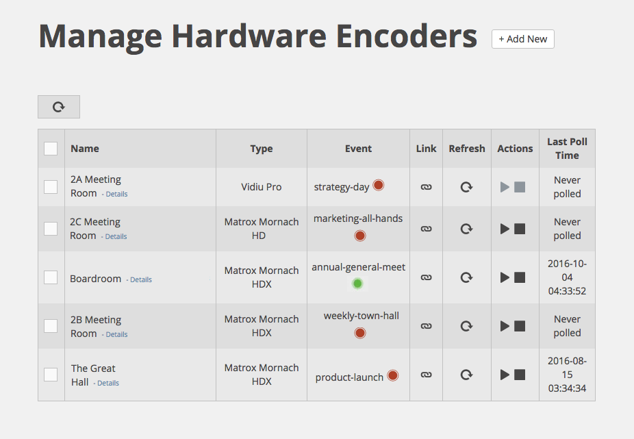 Manage Hardware Encoders